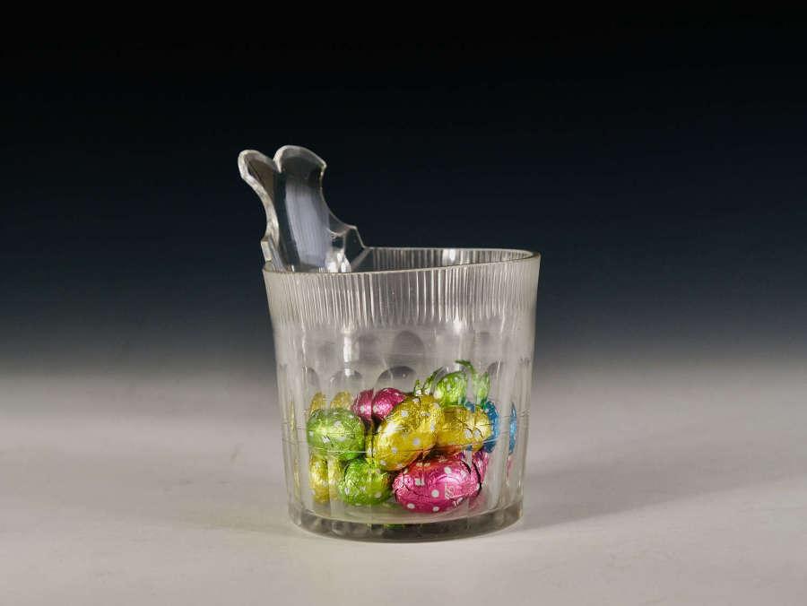 Antique glass piggin Irish c1820