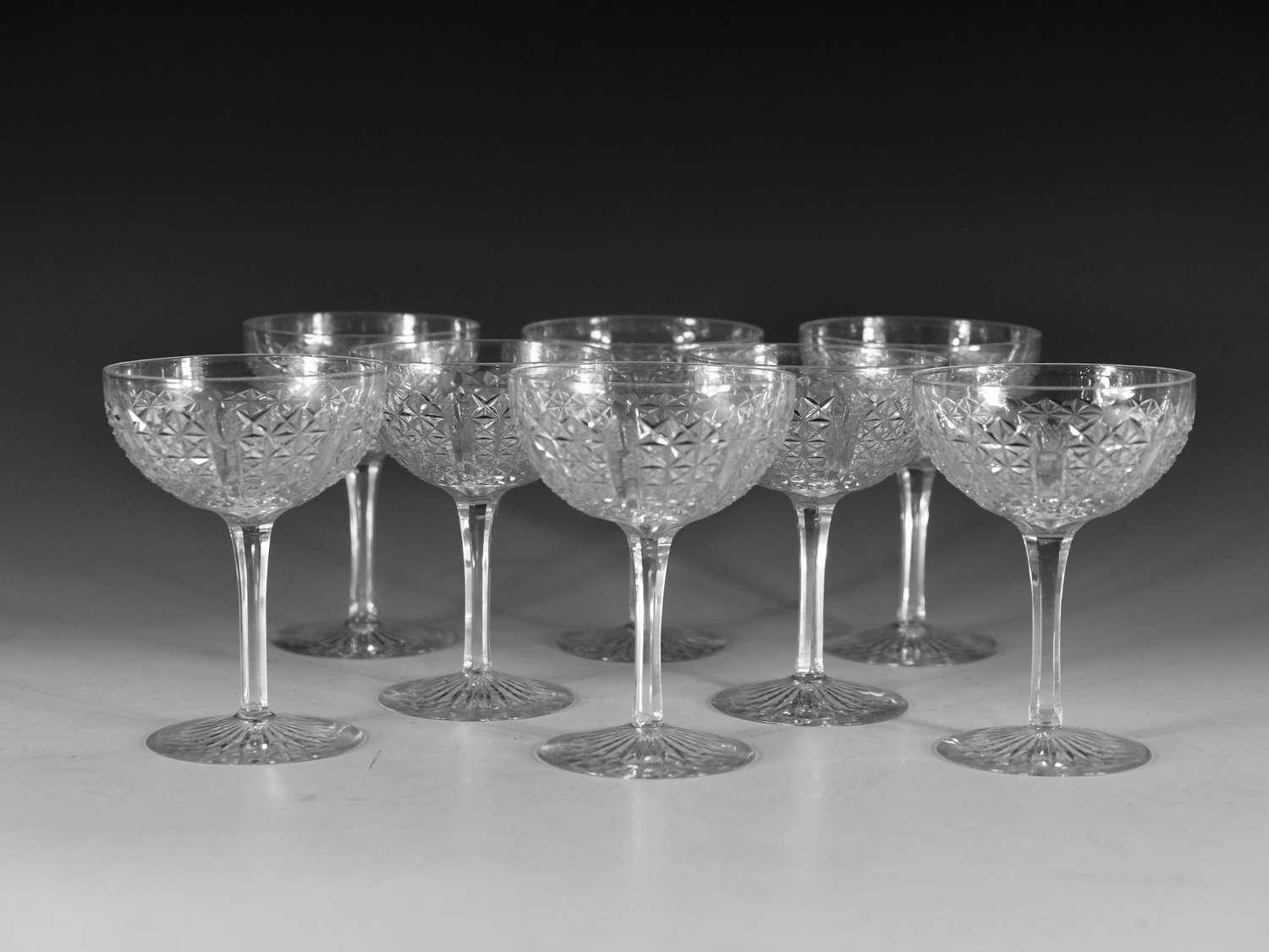 Antique champagne glasses Set of eight English c1880