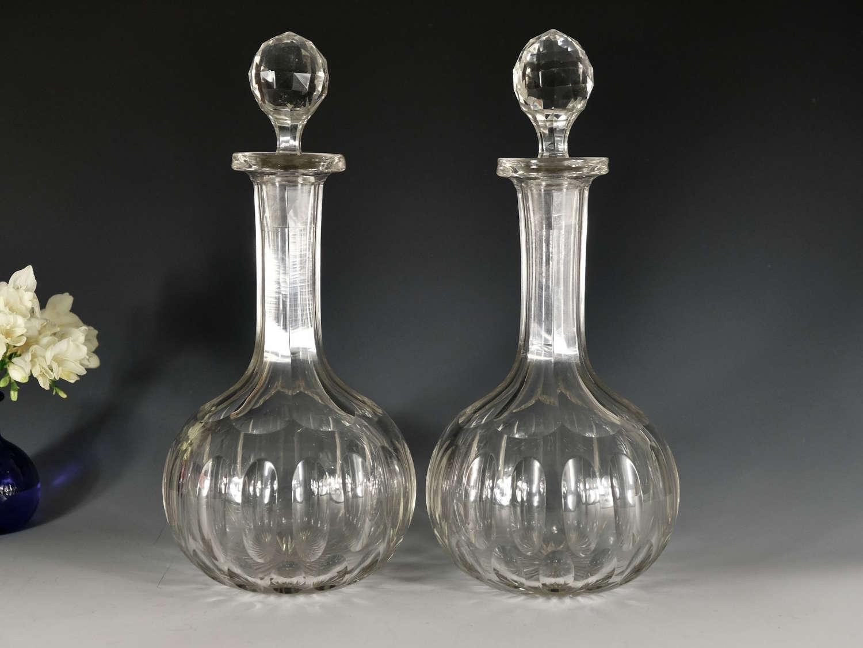 Antique pair of decanters magnums English c1880