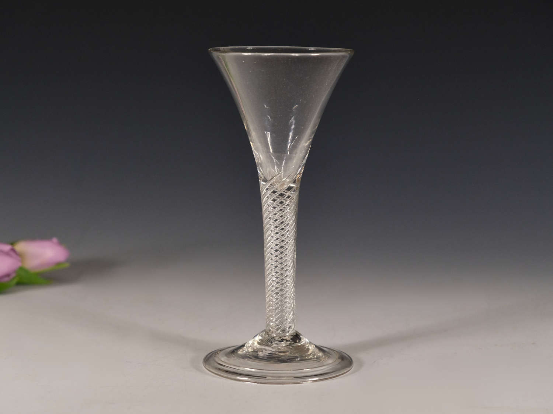 Antique wine glass air twist English c1755