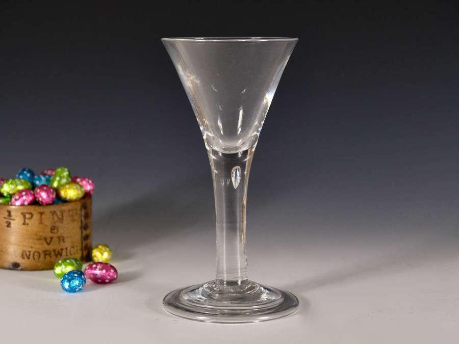 Antique wine glass plain stem goblet English c1750
