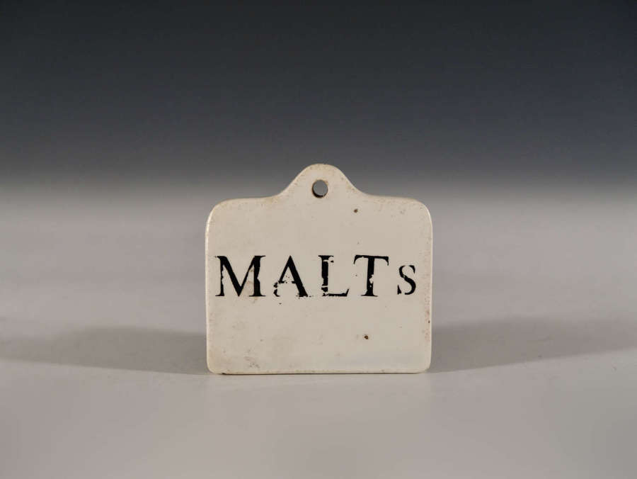 Antique bin label Malts late 18th - Early 19th Century