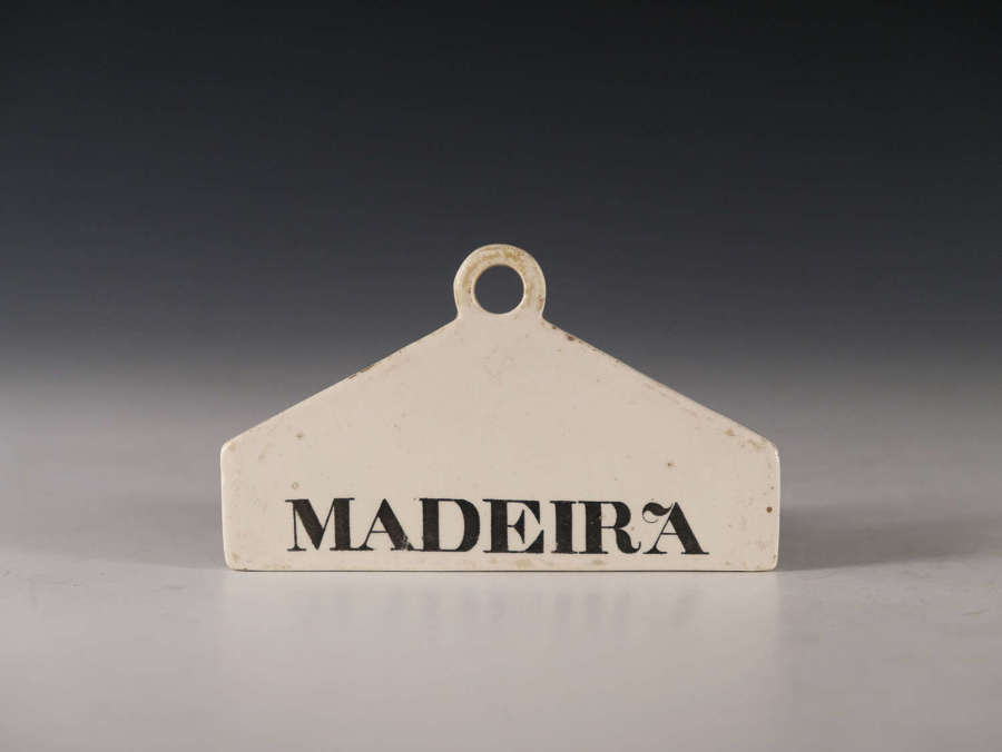 Antique bin label Madeira English early 19th century