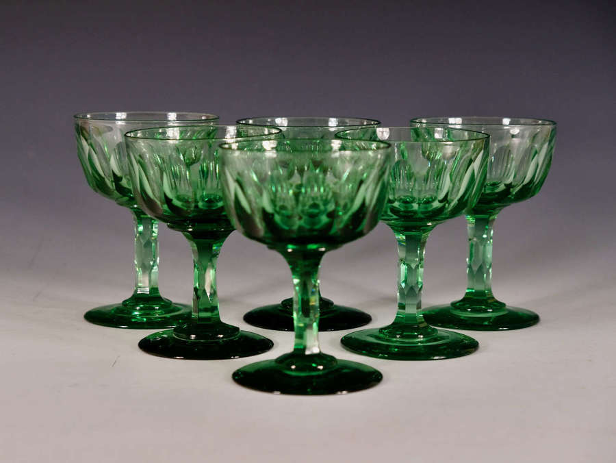 Antique champagne glasses set of six English c17860