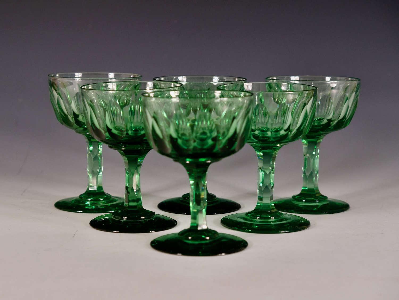 Antique champagne glasses set of six English c17860