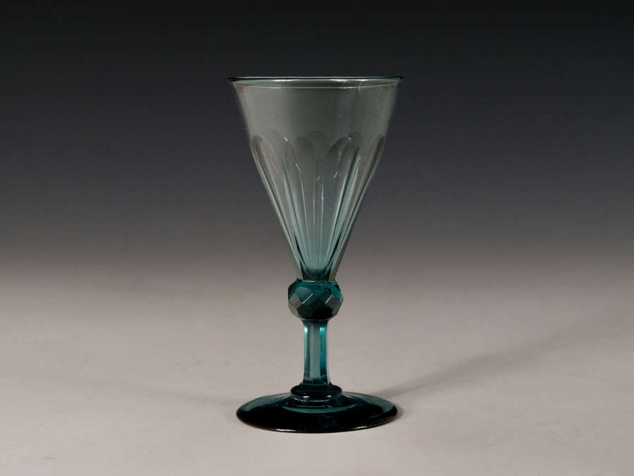 Antique wine glass teal English c1830