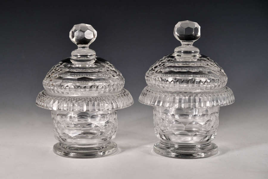 Antique preserve jars pair Irish c1820