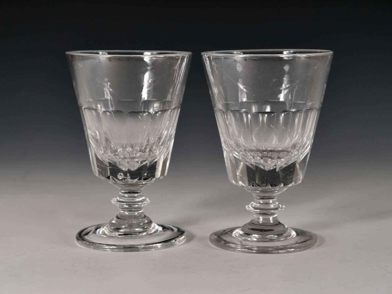 Antique glass rummer pair English c1835