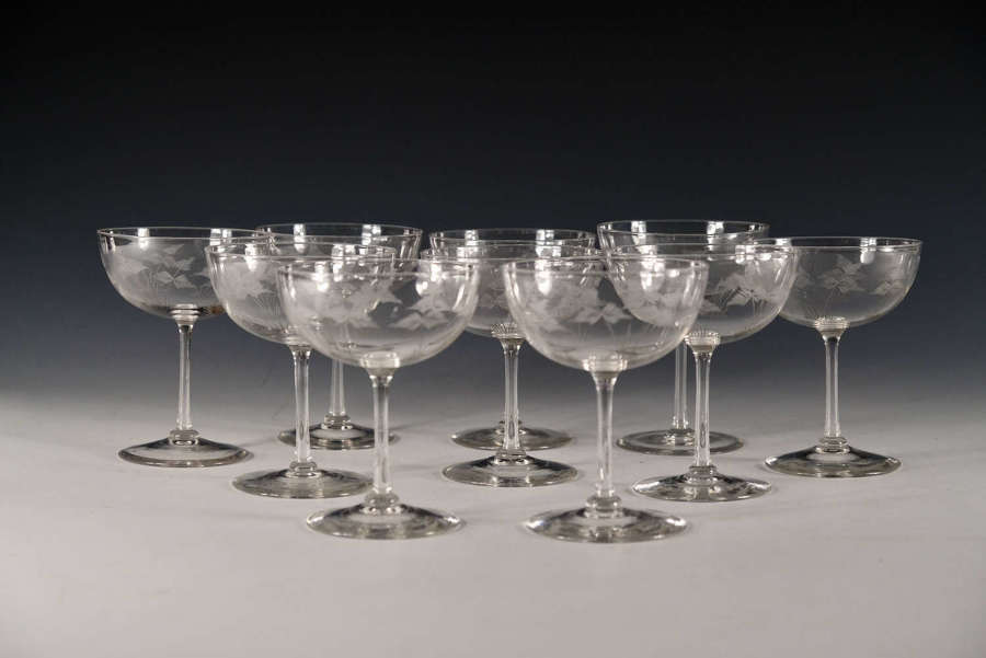 Antique champagne glasses set of 10 English c1900/10