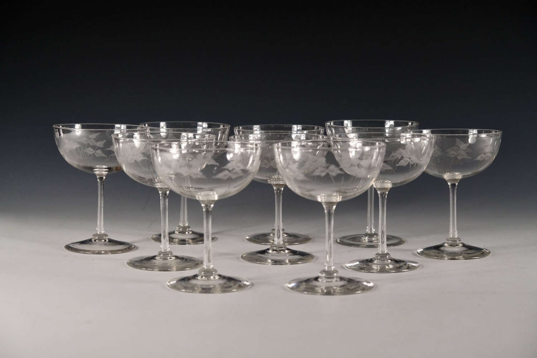 Antique champagne glasses set of 10 English c1900/10