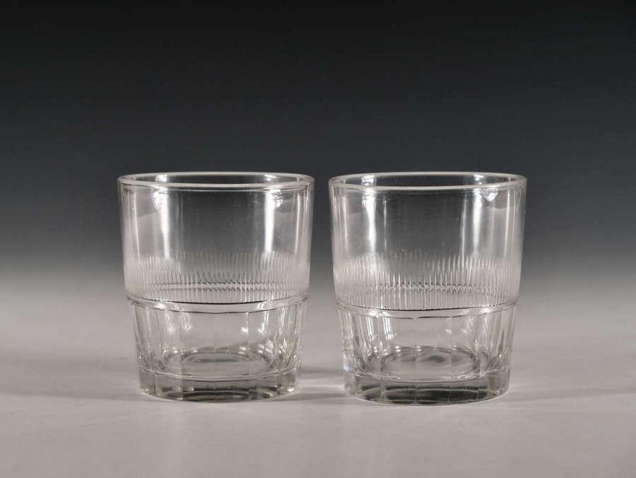 Antique glass tumblers pair English c1820