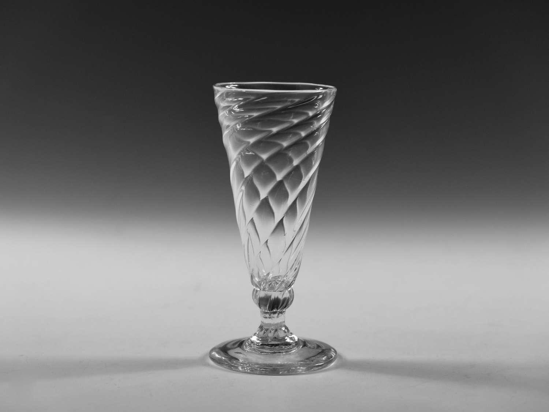 Antique ale glass wrythen English c1800