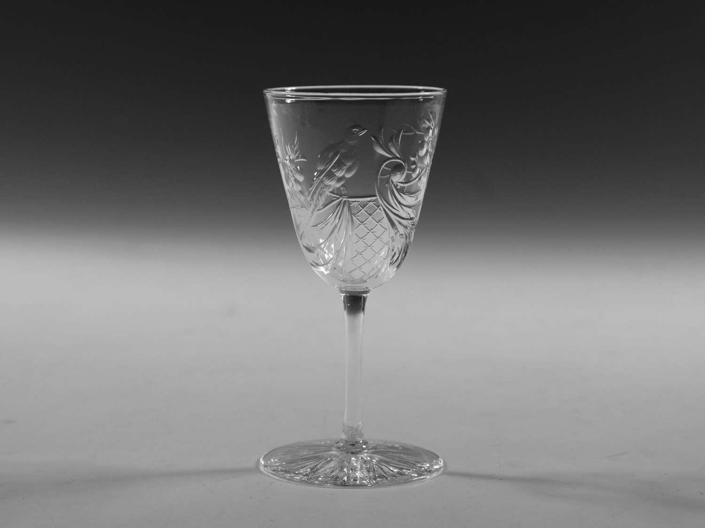 Antique wine glass intaglio cut English c1880