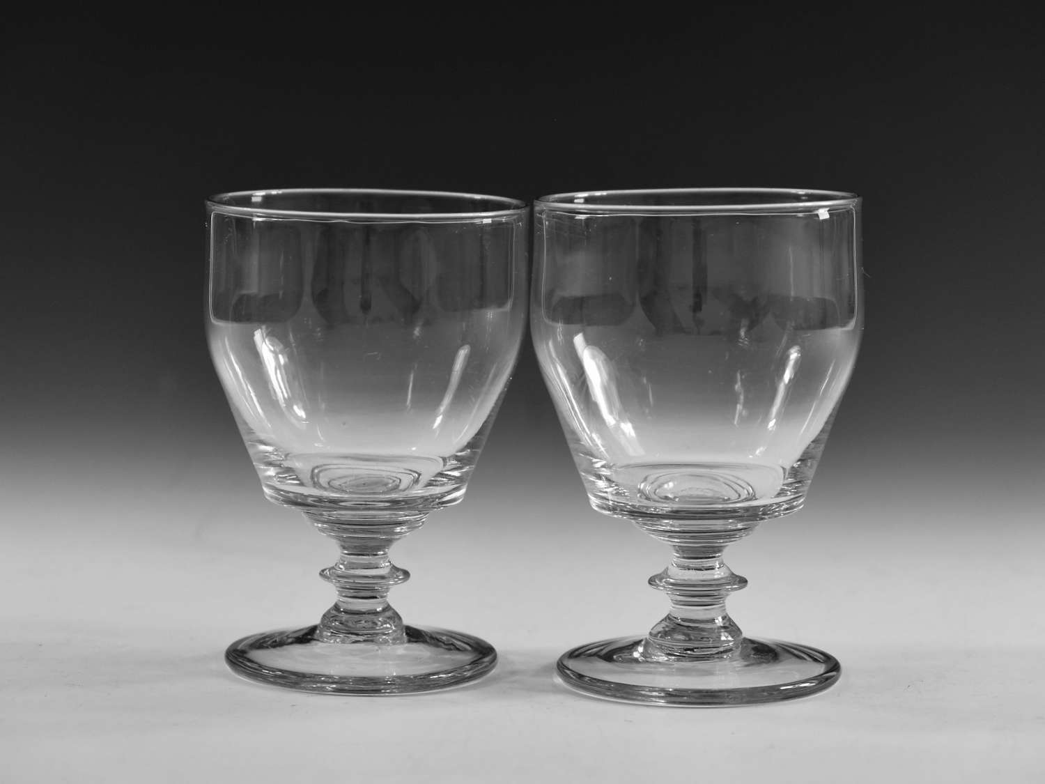 Antique glass rummers pair English c1820