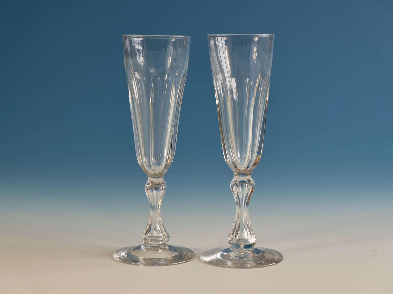 Antique glass champagne flutes pair English c1830