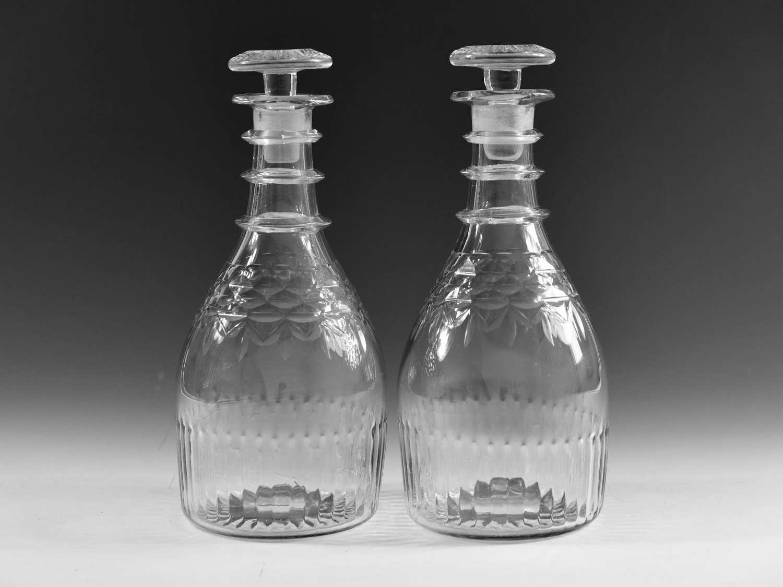 Antique decanters pair Irish c1820
