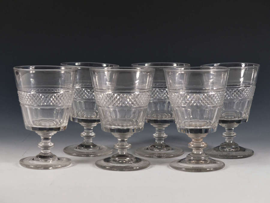 Antique glass set of six rummers English c1820