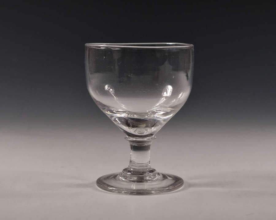 Antique glass rummer ovoid bowl English c1810
