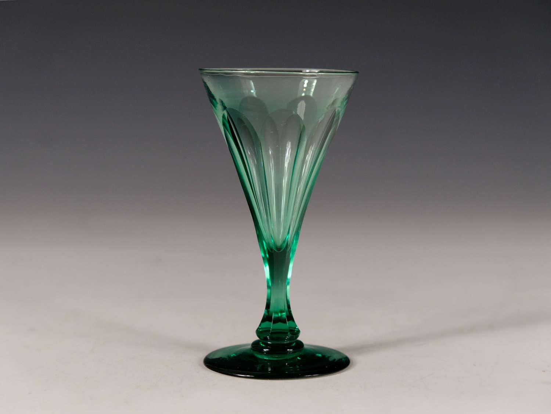 Antique glass green wine glass English c1850