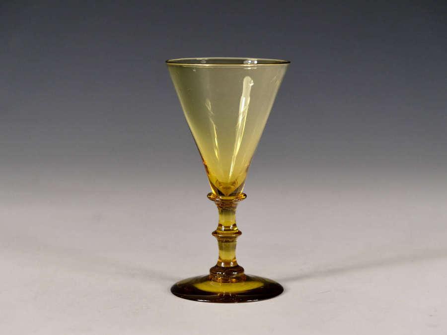 Antique glass amber wine glass English c1850