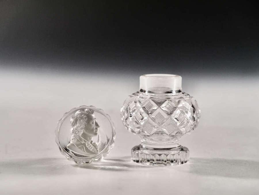 Antique glass scent bottle sulphide c1830