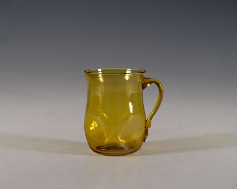 Antique glass amber punch glass Whitefriars c1890