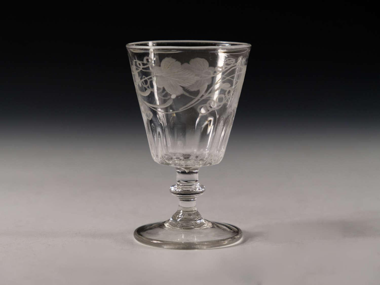 Antique glass engraved dram glass English c1820