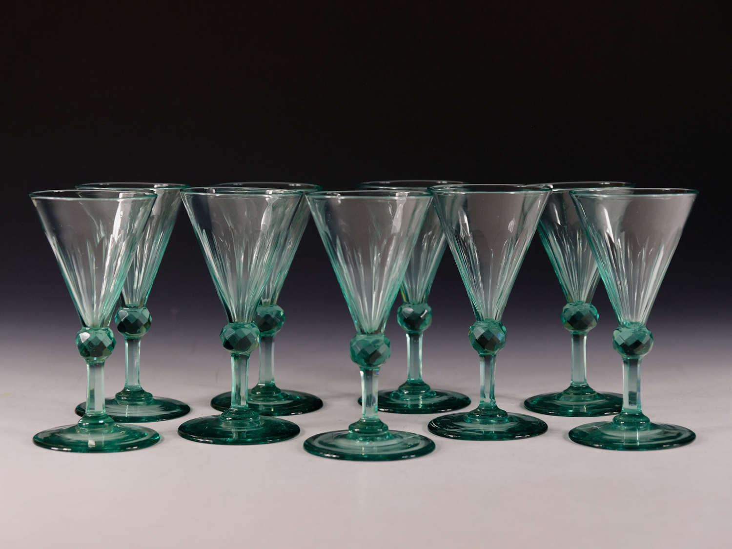 Antique glass pale green wine glass English c1830
