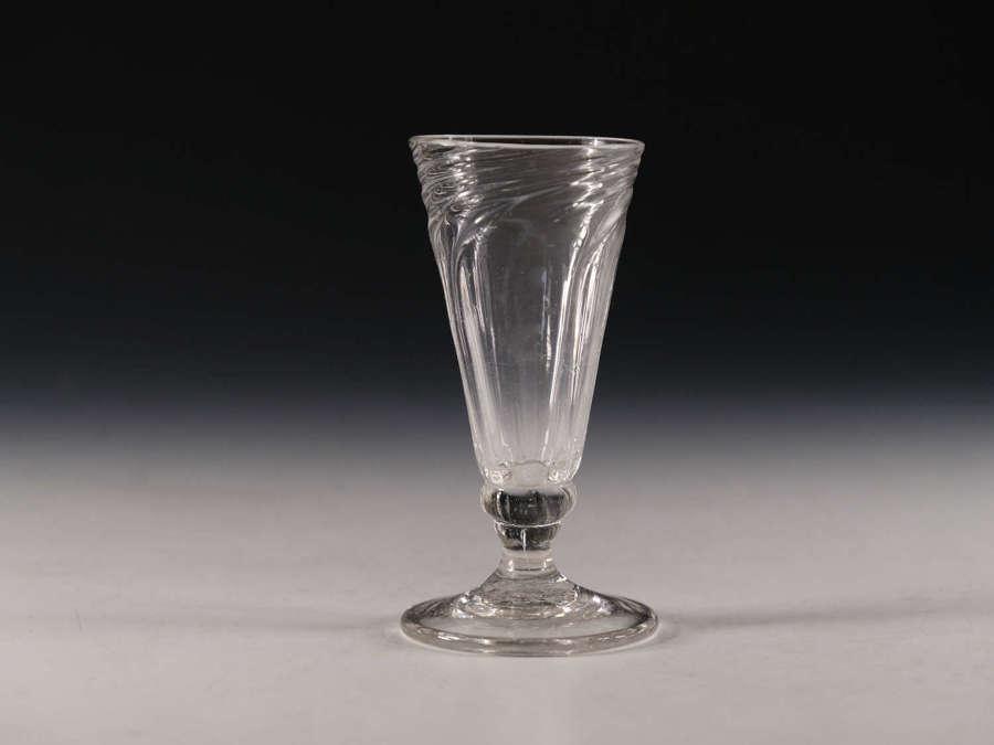 Antique glass wrythen ale glass English c1800