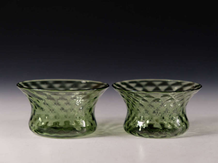 Antique glass pair of green finger bowls Powell Whitefriars c1870