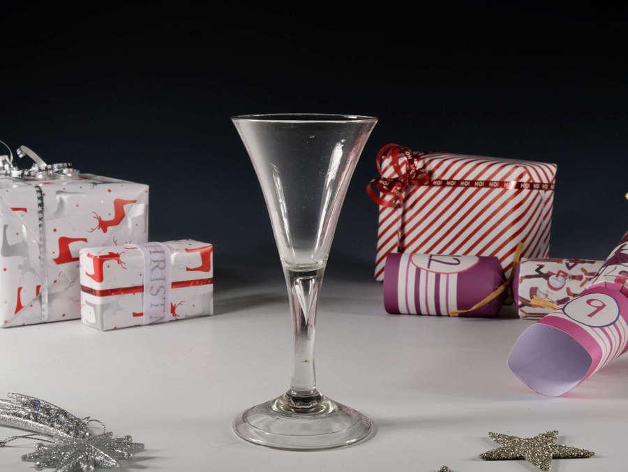 Antique glass plain stem wine glass English c1750