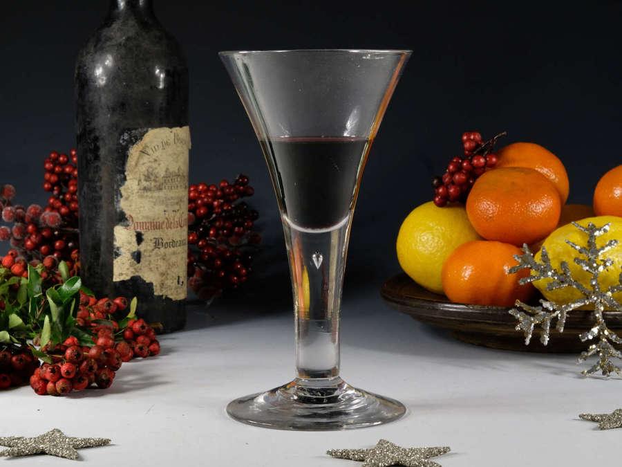 Antique glass plain stem wine goblet C1750