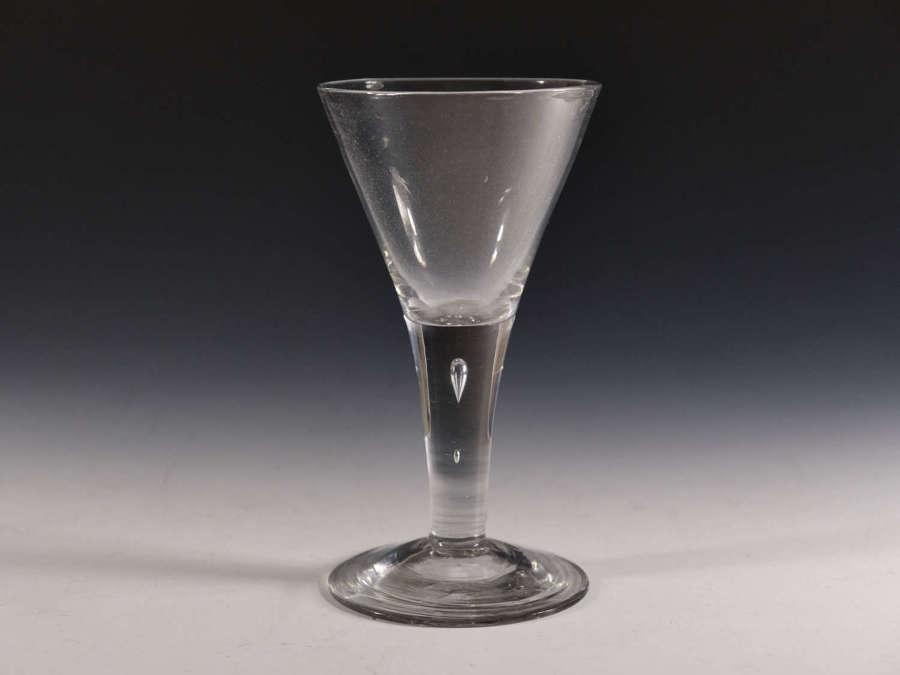 Antique glass plain stem wine goblet English c1750