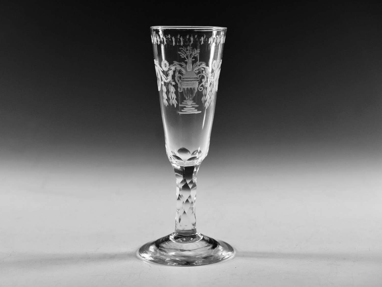 Antique glass facet stem wine glass English c1780