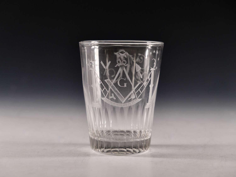Antique glass Masonic tumbler English c1810
