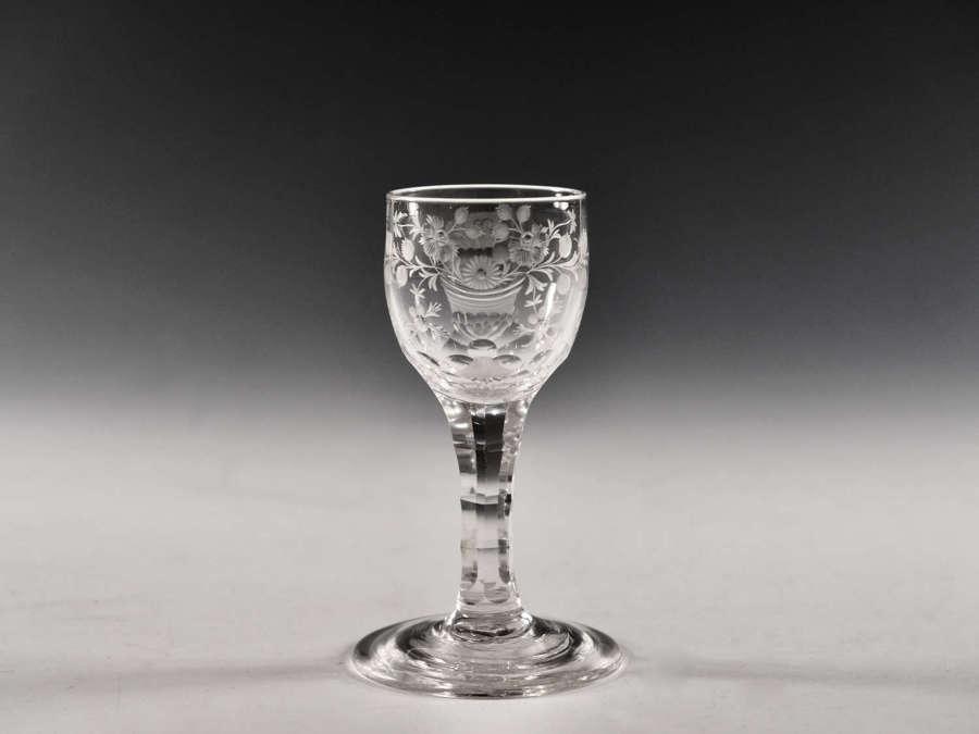 Antique glass facet stem wine English c1780