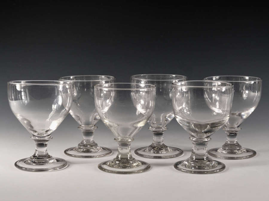 Antique glass six ovoid rummers English c1810